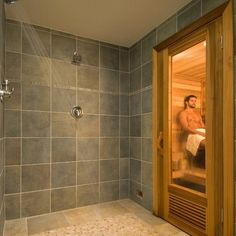 A sauna in the shower or built off bathroom