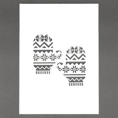 Form Cutout Of Texture White Fairisle Mittens A4 Papercut Via Etsy