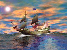 Ship Caught in The High Seas HD Desktop Wallpaper