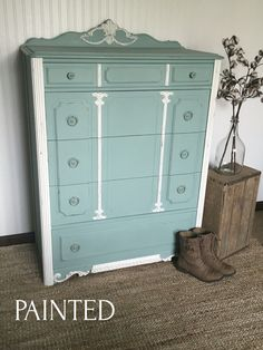 Hand painted in Wise Owl Chalk Synthesis Paint in Vintage Duck Egg & Antique Villa sealed with clear wax. To purchase products, please visit my website.