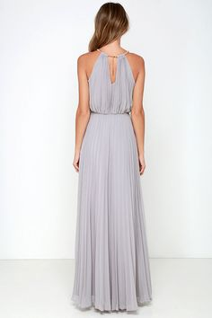 Everything will be a dream in the Bariano Melissa Light Grey Maxi Dress! Gold coil necklace supports a pleated chiffon bodice, with a maxi skirt below. Grey Maxi, Gray Dress, Light Grey Bridesmaid Dresses, Bridesmaids, Formal Dresses, Dresses Dresses, Clothes For Women, Fall Wedding, Wedding Ideas