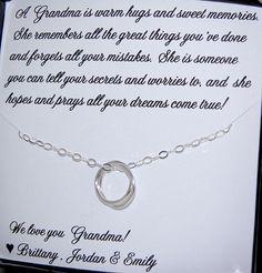 Necklace for GRANDMA, Gift message included, Sterling Silver Rings, Gift for Grandma, Nana, Sentimental Christmas gift for Grandma on Etsy, $39.00