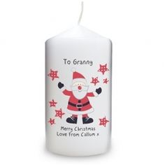 Our Christmas Candle has a fantastic Santa with Spotty Stars motif. The candle an be personalised with a special message, making it personal and the perfect gift for someone you care about this Christmas. A unique and special gift for Christmas. Ho Ho Ho! Visit www.stores.ebay.co.uk/Little-Box-Gifts if you wish to purchase this product.