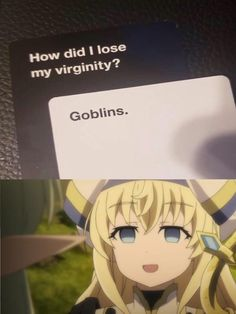 Youll get used to it . Do you like memes? visit my site for many more anime memes and Geek culture. Goblin Slayer Meme, Funny Images, Funny Pictures, Yandere Manga, Baguio, A Silent Voice, Jojo Memes, Slayer Anime, Anime Meme