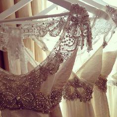 Insanely gorgeous embellishments at @Annacampbelldesign #bridalfashionweek2014 #nybridalweek #bwny