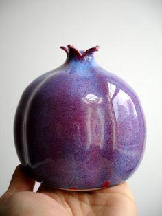 Purple Porcelain Pomegranate Vase by NewMoonStudio on Etsy Ceramic Pottery, Pottery Art, Ceramic Art, Porcelain Jewelry, Fine Porcelain, Porcelain Vase, Cultura Judaica, Pottery Sculpture, Ceramic Design