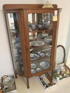 ANTIQUE Larkin Co Oak China Cabinet Curved Glass Backsplash w ...