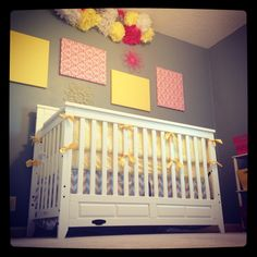 Pink yellow & gray nursery!