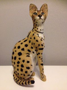 Needle felted 100% doll of Serval cat by coalla on Etsy