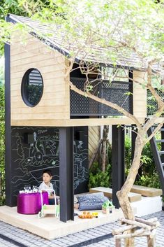 38 pretty landscaping small backyard ideas 36 landscapingsmallbackyard smallbackyardideas smallbackyard is part of Backyard playhouse - 38 pretty landscaping small backyard ideas 36 landscapingsmallbackyard smallbackyardideas smallbackyard Backyard Playhouse, Backyard Playground, Backyard For Kids, Modern Playhouse, Backyard Ideas, Outdoor Playhouse For Kids, Kids Playhouse Plans, Outdoor Playset, Backyard Fort