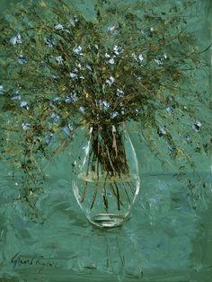 'FOURTY SHADES OF GREEN', still life, silver birch in glass vase, oil on canvas by Gerard Byrne, www.gerardbyrneartist.com SOLD