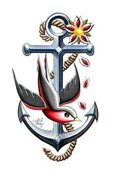 ideas tattoo old school design vintage galleries for 2019 Marine Tattoos, Navy Tattoos, Sailor Jerry Tattoos, Military Tattoos, Navy Anchor Tattoos, Anchor Tattoo Men, Ancora Old School, Tattoo Ancora, Tatto Old