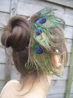 Peacock feather fascinator HAIR Comb Races Wedding