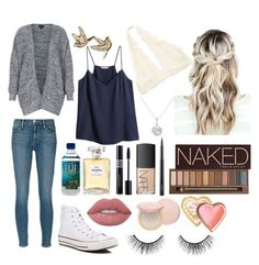 """""""School 64"""" by ella-goodness on Polyvore featuring H&M, Frame, Converse, Topshop, Chanel, Christian Dior, NARS Cosmetics, Lime Crime, MAC Cosmetics and Urban Decay"""