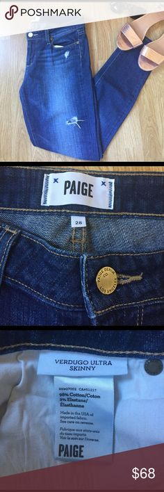 Paige 'Verdugo Ultra Skinny' Size 28 Paige 'Verdugo Ultra Skinny' Size 28. Only worn a couple times, in excellent used condition! These jeans are perfect for spring and summer! Paige Jeans Jeans