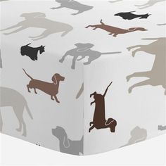 Brown and Gray Dogs Crib Sheet