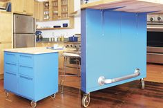 I like the idea of suspending a longer piece of timber over two painted filing cabinets. Pop it on caster wheels and it looks cool and is high enough. Easily done too.