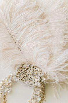Ivory Ostrich Feather Fan