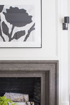Details: Dark Fireplace Surround and Painted Paneling | Interiors by Victoria Hagan | Philip House