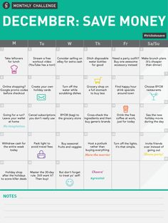 December Save Money Monthly Challenge Calendar  #trickstosave #greatist