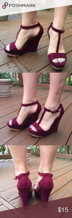 """Maroon Suede Wedges Feature a gold metal platform under toes and gold clasps on outside ankle. 5.5"""" heel height. Worn one time. No damage! Xhilaration Shoes Wedges"""