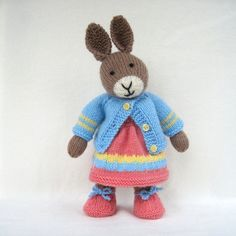 Mother Bunny - knitted toy rabbit doll - INSTANT DOWNLOAD - PDF email knitting pattern - ePattern