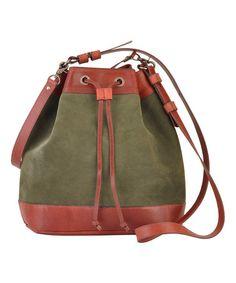 Look what I found on #zulily! Olive Leather Danette Bucket Bag #zulilyfinds