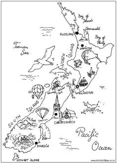 New Zealand Colouring Map Print this fun colouring map of New Zealand's islands with landmarks, animals and birds marked on it.