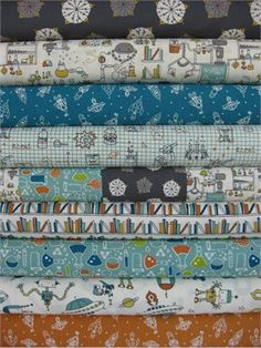 Rebekah Ginda for Birch Organic Fabrics, Robotic, Entire Collection 9 Total Robot Theme, Contemporary Quilts, Boy Quilts, Double Gauze Fabric, Fabulous Fabrics, Surface Pattern Design, Baby Sewing, Fabric Crafts, Printing On Fabric