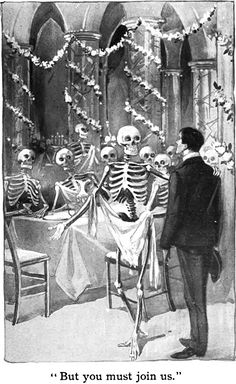 """But you must join us"" - An illustration from 'The Sociable Ghost' by Olive Harper, 1903"