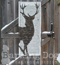 Custom designed Buck Shutter, colours inspired by camo colouring and pattern. Are you interested in my custom designed, hand-painted shutters? Please visit my facebook page and support artists and small, independent businesses ~ Thank you for your support! https://www.facebook.com/BarkingDogSalvageAndDesign