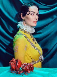 Lena Headey in Giambattista Valli Haute Couture photographed by Miles Aldridge for TIME magazine, July 2017.