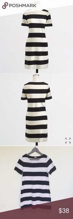 J. Crew Striped Boatneck dress Super cute classic J. Crew striped dress in navy and beige. Short sleeve. Perfect for Summer vacation! In excellent pre-worn condition. Size XS. No trades!! J. Crew Dresses