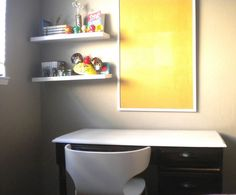 Marvelous Desks Design for Office Room with Interesting White Refinished Desk with Comfortable Chair and Cute Float Rack in Wall : Marvelous...