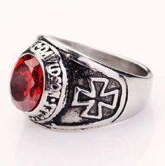 316L-Stainless-Steel-fashion-men-biker-motor-red-stone-cross-rings-8-9-10-11-12