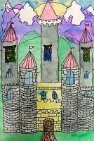 Castle architechture- liquid watercolors and marker.