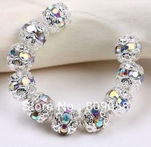 Free Shipping Wholesale 100pcs Metal Beads 8mm New Design Beads Crystal White AB Rhinestone Silver Plated Spacer Charm Beads(China (Mainland))