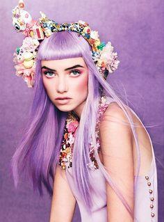 purple #Flowers in her #hair k