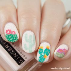 Erin Condren Cactus Pattern ~ with acrylic paint over pale pink polish ~ by Wondrously Polished