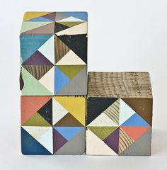 Painted wooden blocks by Serena Mitnik-Miller, via Famille Summerbelle