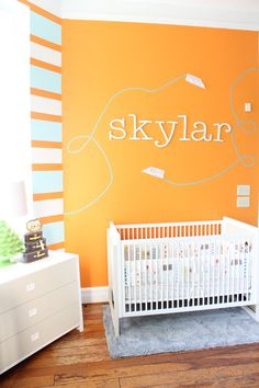 Love all the color in this airplane themed nursery!