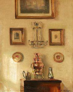 Carl Holsoe Tanska 1863-1935 Interiör med samovar.