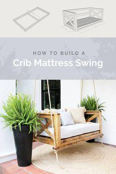 How to Build a Crib Mattress Porch Swing, Crib mattress, Banquettes, Cheap Home Decor, Diy Home Decor, Crib Swing, Diy Daybed, Diy Crib, Porch Furniture, Small Furniture, Garden Furniture