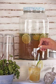 Really nice homemade ice tea, with green tea, limes, mint leaves and honey for the sweetness. Perfect for hot day in the yard!