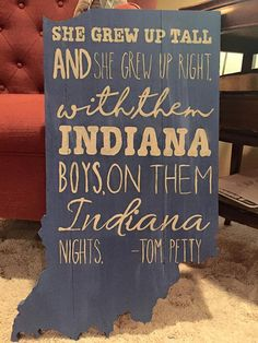 Indiana Wood Cutout with Tom Petty Lyrics