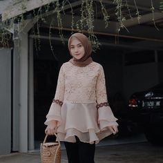 Brown in pastel Kebaya Hijab, Kebaya Dress, Dress Pesta, Kebaya Muslim, Batik Fashion, Abaya Fashion, Muslim Fashion, Hijab Evening Dress, Hijab Dress