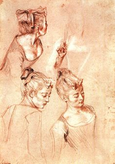 Antoine Watteau - 1717. Three studies of a girl - drawing with red, black and white chalks