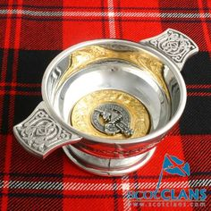 Clan Crest 3in. Pewter Quaich Scottish Clans Tartans Kilts Crests and Gifts