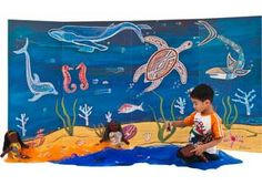 This background features the Waterlife painting by respected Aboriginal artist Billyara. The background is lightweight and folds for easy storage. It measures 240 x high. Aboriginal Dreamtime, Aboriginal Artists, Freestanding Room Divider, Naidoc Week, Creative Play, Early Childhood, Discovery, Catalog, Teaching