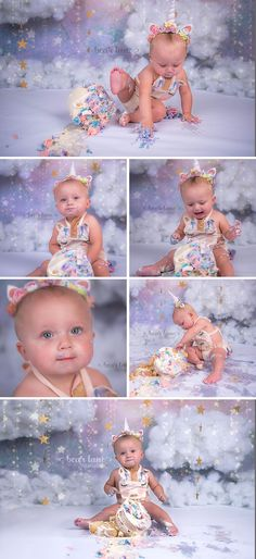 rainbow unicorn girl cake smash with clouds and stars by Richmond Chesterfield Midlothian Virginia Child and Baby Cake Smash photographer Bear Lane Photography